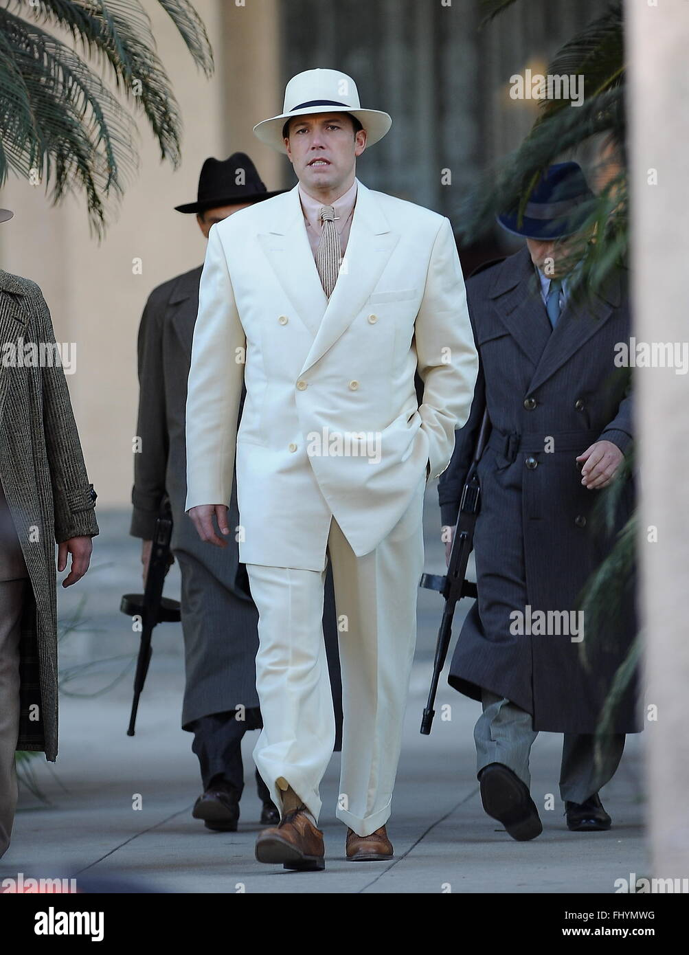 Actor Ben Affleck gets into his mobster character on the set of 'Live By Night' filming in Pasadena Ca. - Stock Image