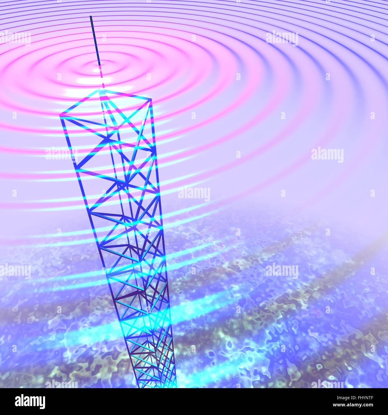 Radio Waves Stock Photos Images Alamy Diagram The Basic Shape Of Wave And Transmission Tower Illustration Image