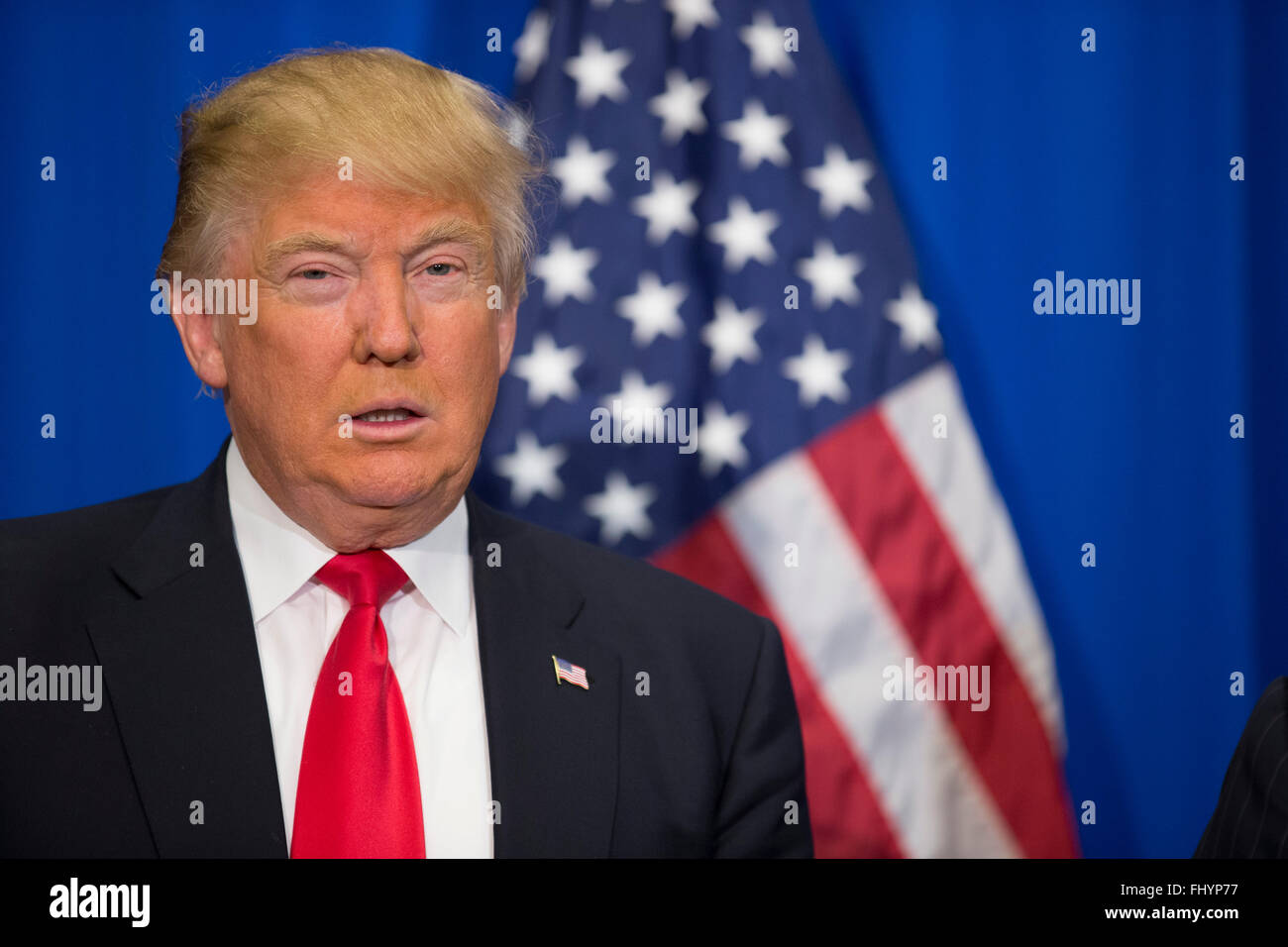 Republican presidential nominee candidate Donald Trump speaks at a campaign rally in Fort Worth Texas - Stock Image