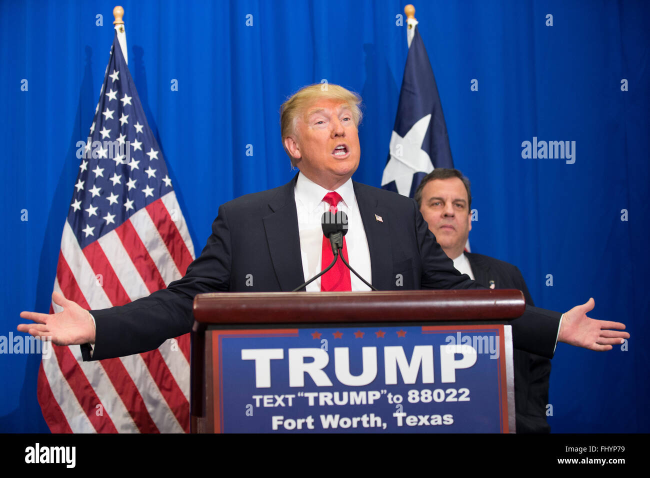 Republican presidential nominee candidate Donald Trump get endorsement of former candidate Chris Christie - Stock Image
