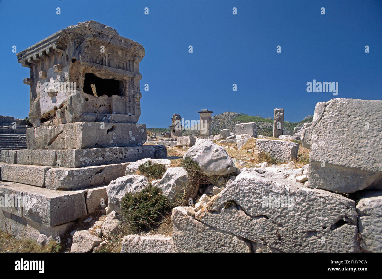 Tomb at XANTHOS (LYCIA'S ancient capital dating back to the 5th Cent. BC) - TURKEY - Stock Image