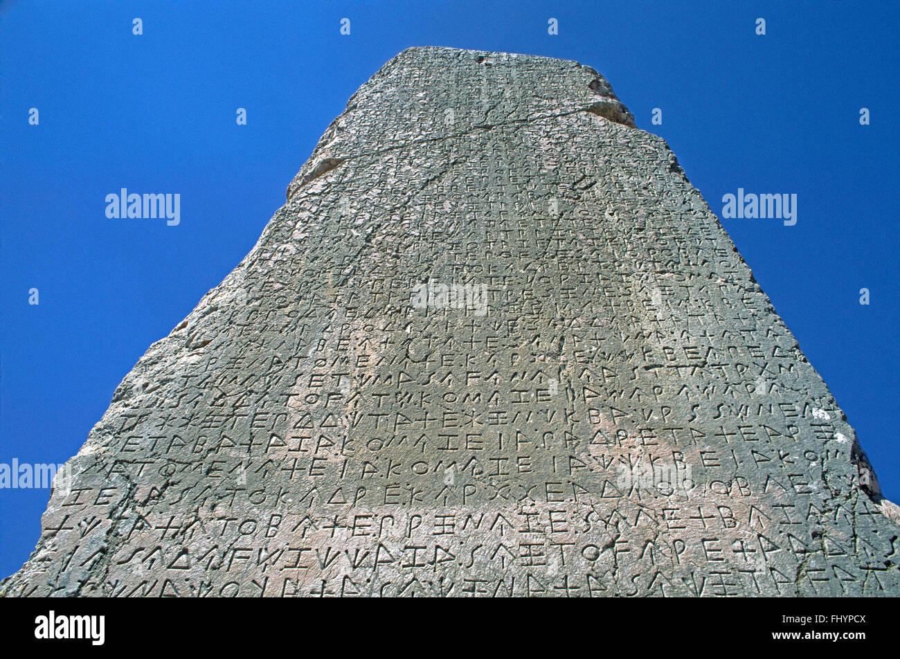 GREEK writing on Obelisk at XANTHOS (LYCIA'S ancient capital dating back to the 5th Cent. BC) - TURKEY - Stock Image