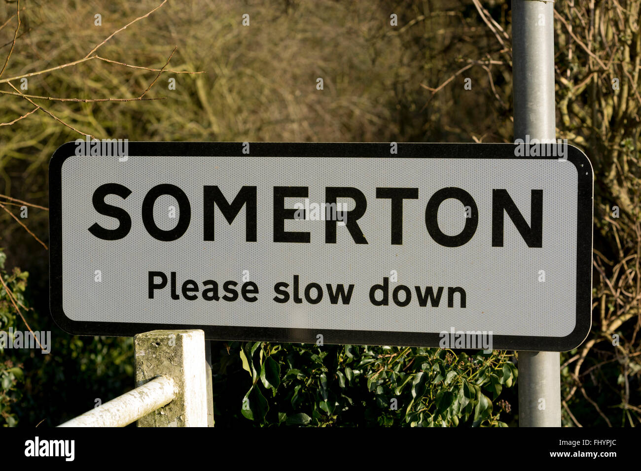 Somerton village sign, Oxfordshire, England, UK - Stock Image