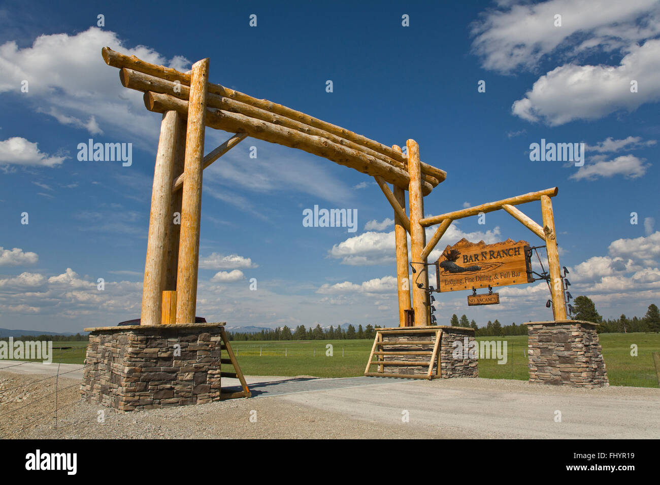 Entry sign to BAR N RANCH which is a guest ranch with fine food and accommodations - WEST YELLOWSTONE, MONTANA - Stock Image