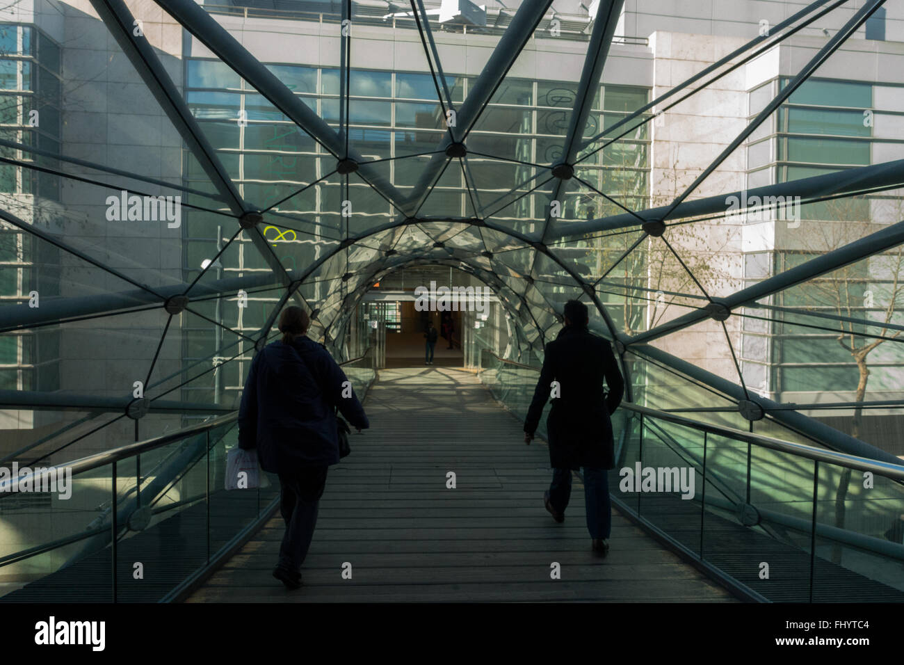 The Web of Consumerism, the bride between the Arndale Centre and Selfridges department Store in Manchester - Stock Image