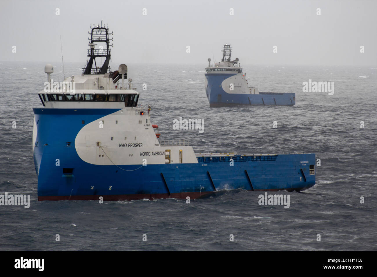 The Nao Prosper and Nao Fighter sailing together in the North Sea - Stock Image