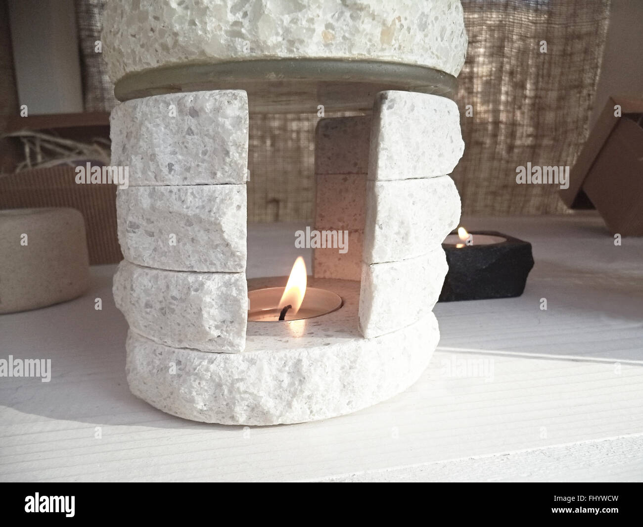 Stone candlestick detail - Stock Image