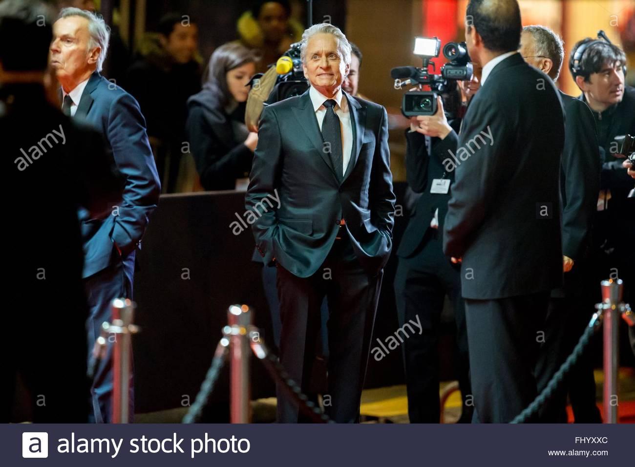 Paris, France. February 26th, 2016. FRANCE, Paris: US actor Michael Douglas walks on the red carpet of the 41st - Stock Image