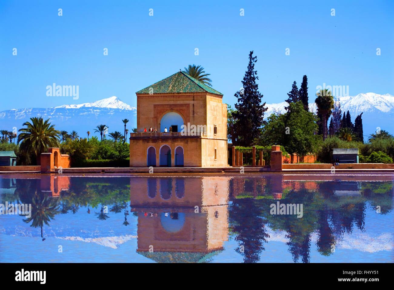 The beautiful La Menara in Marrakech Morocco. - Stock Image