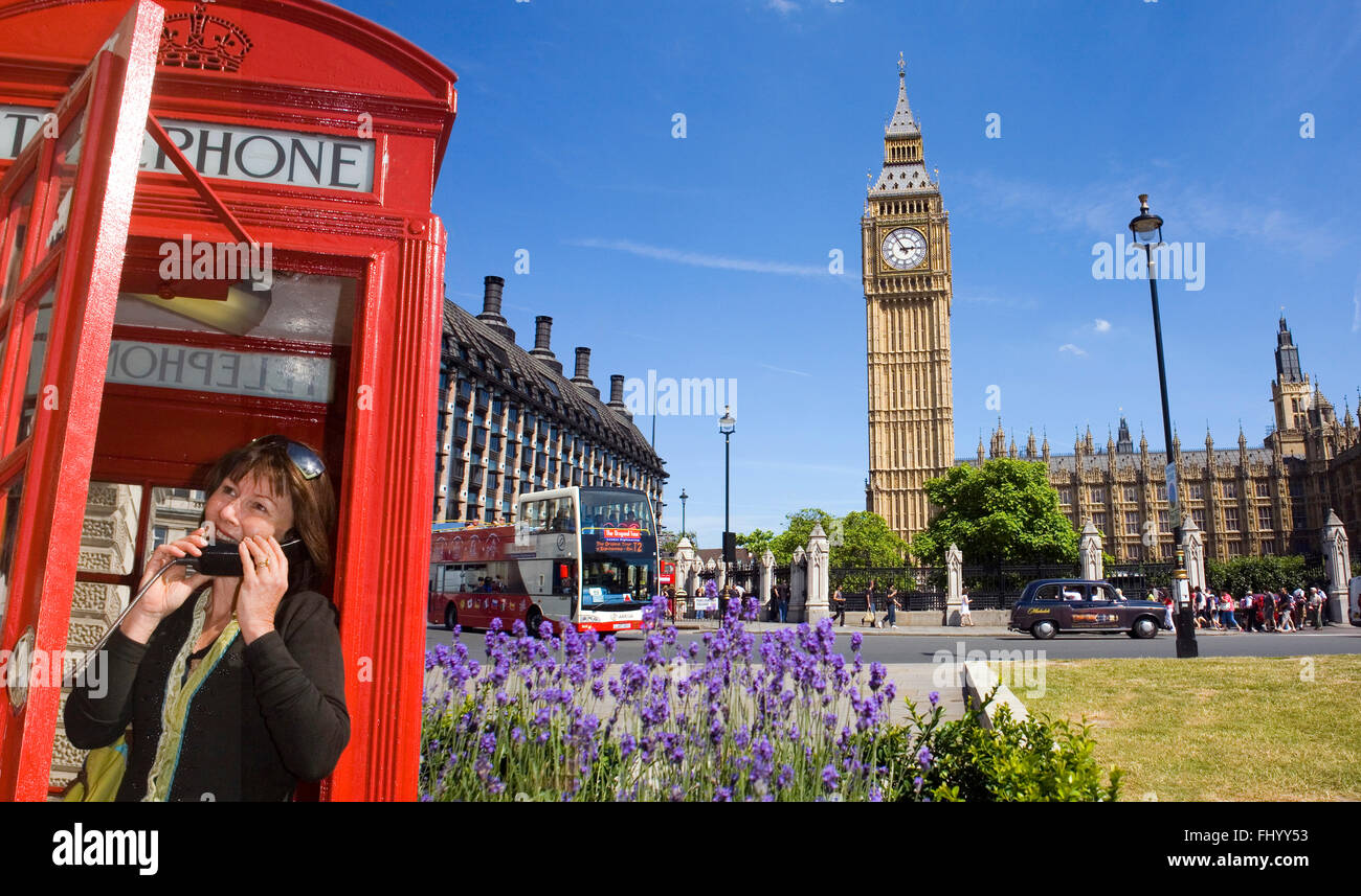 Phoning Home from London! - Stock Image