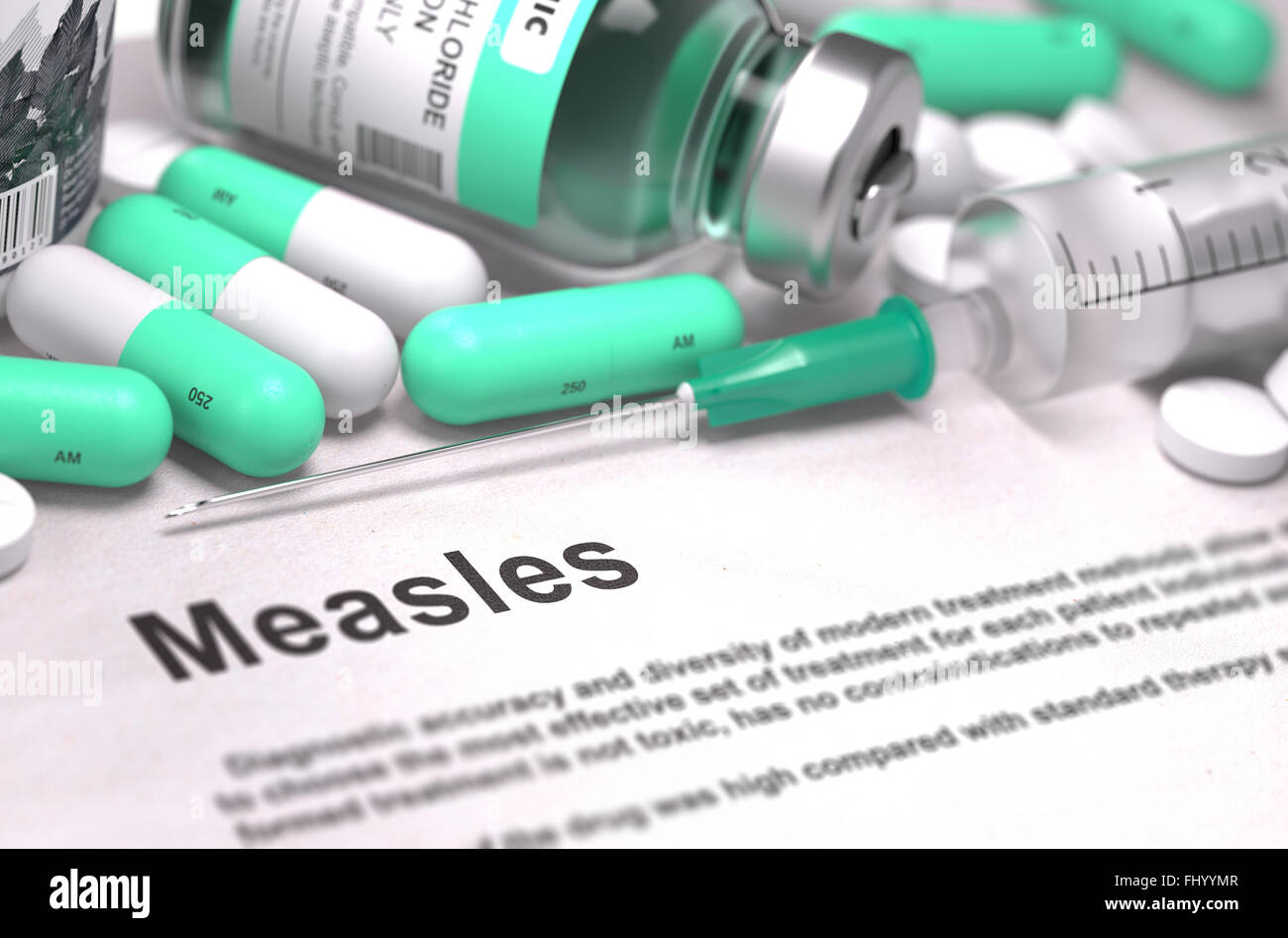 Diagnosis - Measles. Medical Concept with Blurred Background. - Stock Image