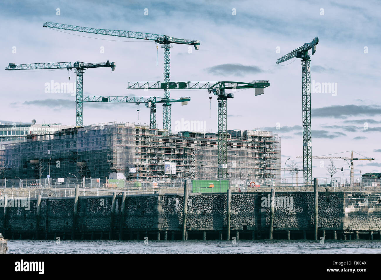HAMBURG, Germany - modern development and construction at Hafencity - Stock Image