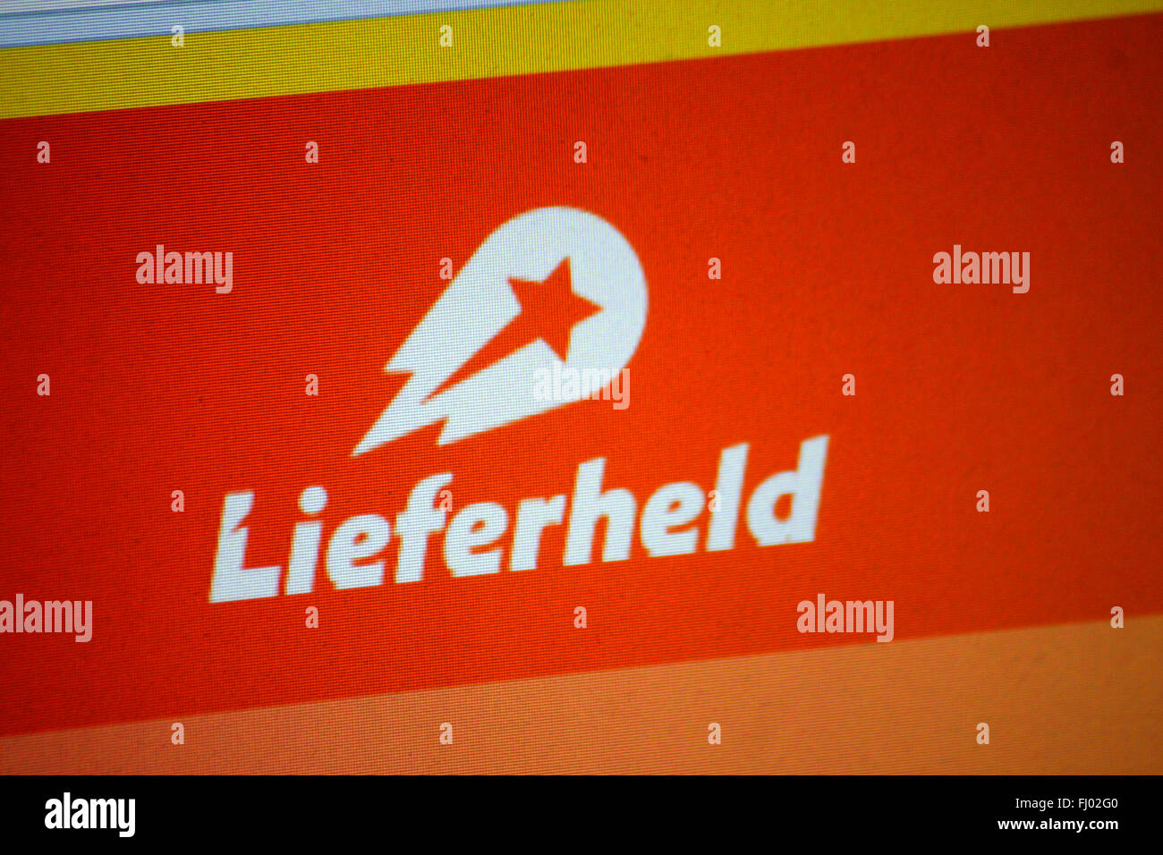 Markenname: 'Lieferheld' (Delivery Hero), Berlin. - Stock Image