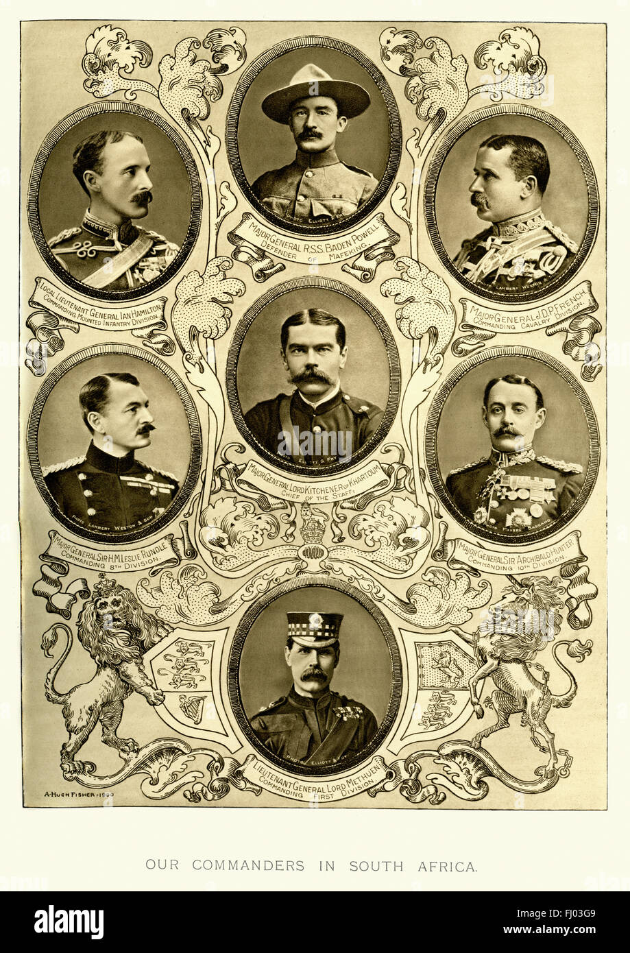 British Military Commanders in Second Boer War.  General Ian Hamilton, General Baden Powell, General French, General - Stock Image