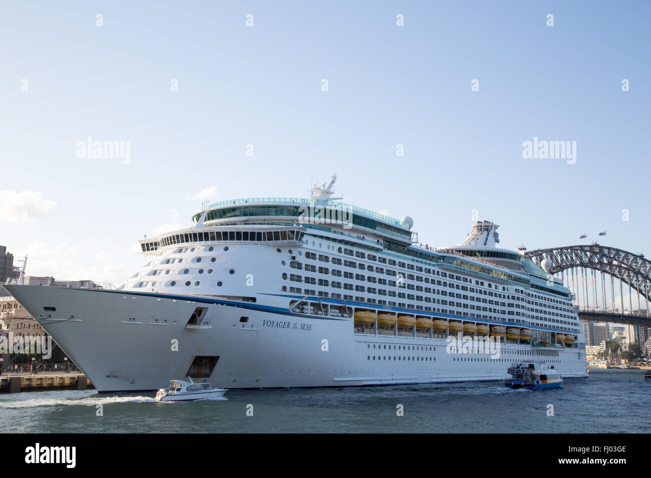 The Royal Caribbean International cruise ship Voyager of the Seas moored at the Overseas Passenger Terminal in Sydney, - Stock Image