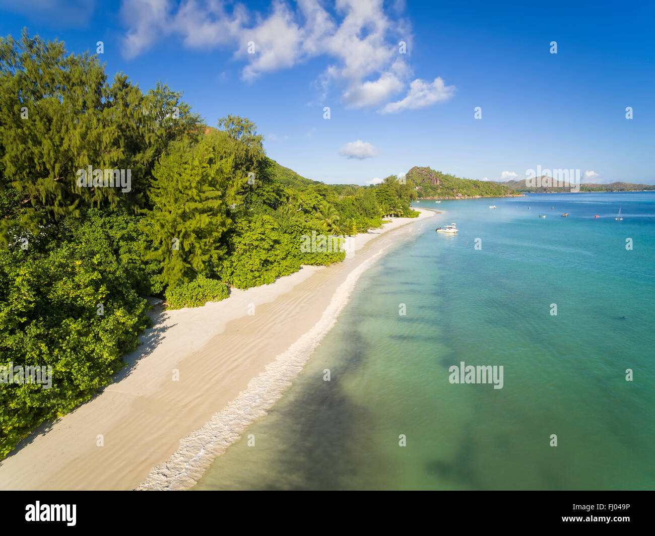 Seychelles, Praslin, Anse Lazio, aerial view Stock Photo