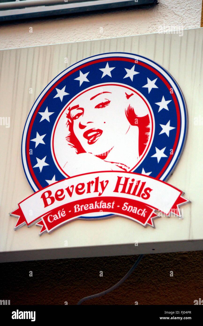 Markenname: 'Beverly Hills' mit einem Portrait von Marilyn Monroe, Berlin. - Stock Image