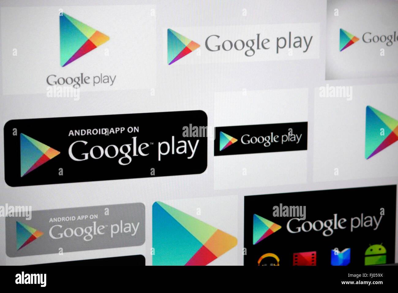 "Markenname: ""Google Play"", Berlin. Stock Photo"
