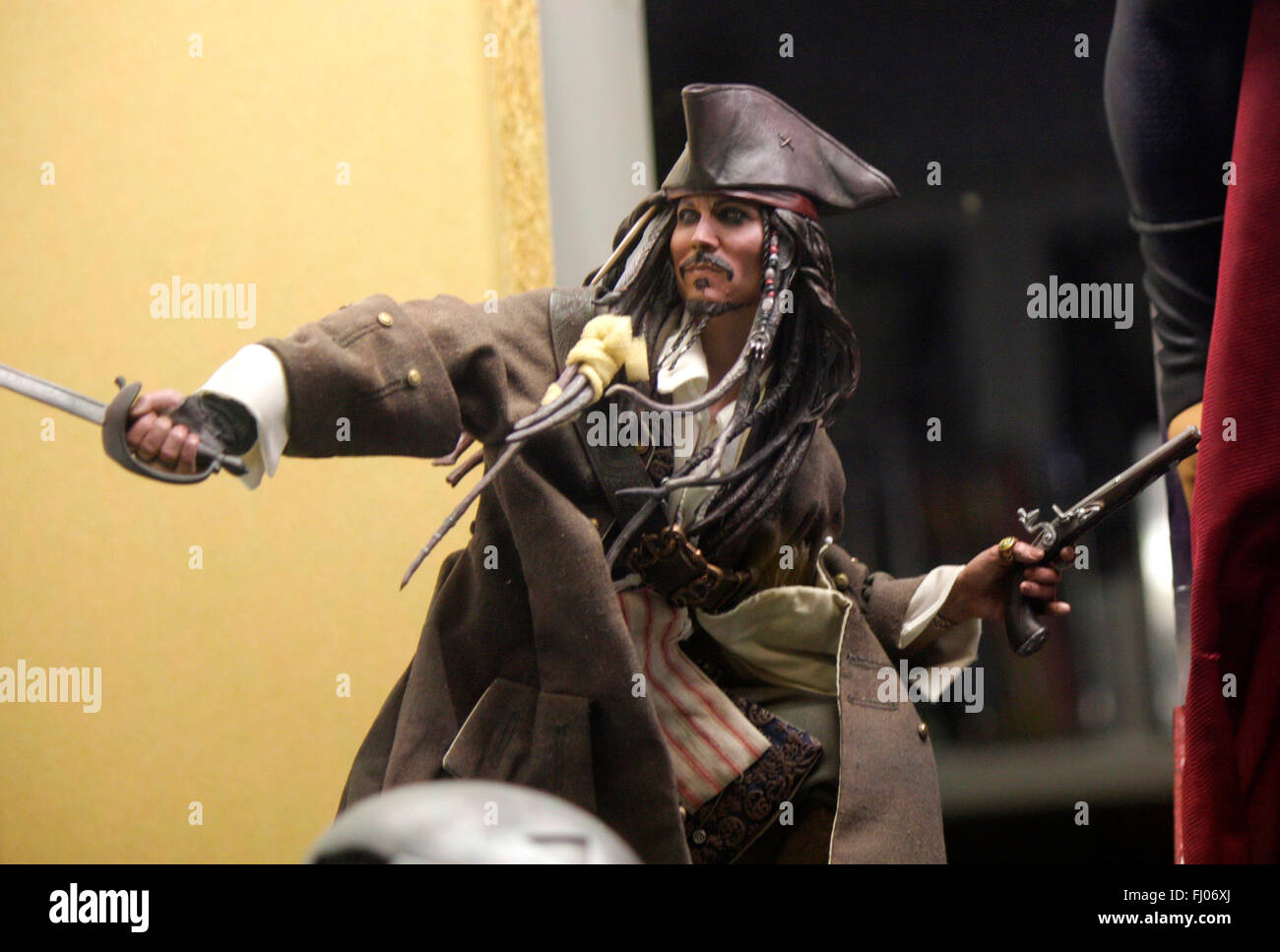 "Figur des Piratenkapitaens ""Jack Sparrows"" (gespielt von Johnny Depp"" aus ""Fluch der Karibik"" (Pirates of the Caribbean), Stock Photo"