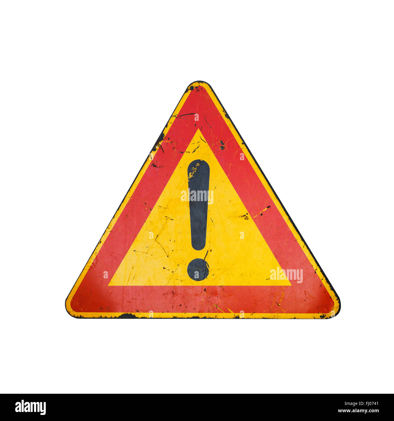 Bright red and yellow triangle warning road sign with
