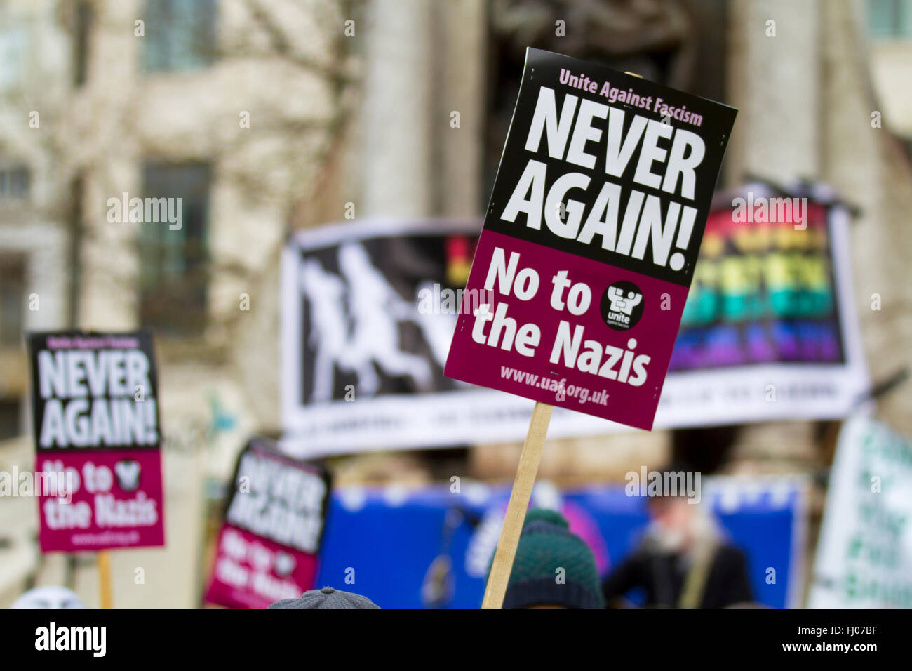Manchester, UK 27th February 2016.  Manchester Unite Against Fascism has called a protest against a North West Infidels - Stock Image