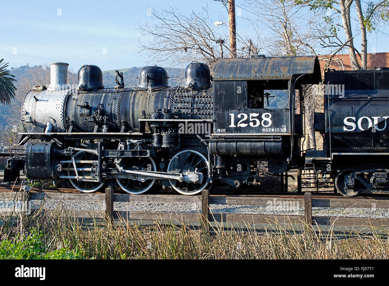 SP 1258 0-6-0 Steam Locomotive on display in Martinez, California