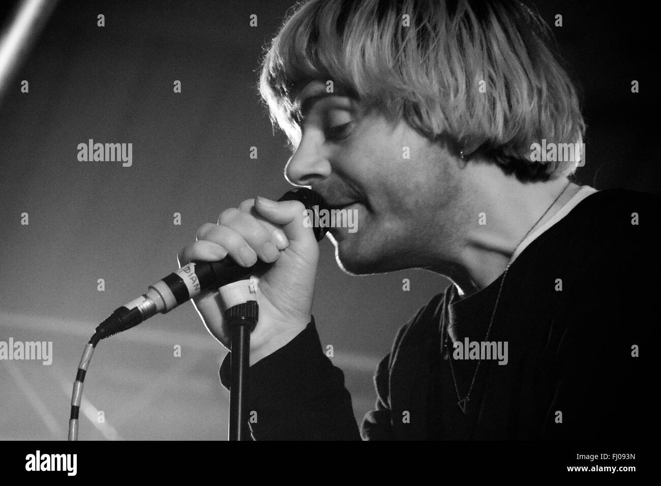 Tim Burgess of The Charlatans performing at Engine Rooms, Southampton in February 2016. - Stock Image