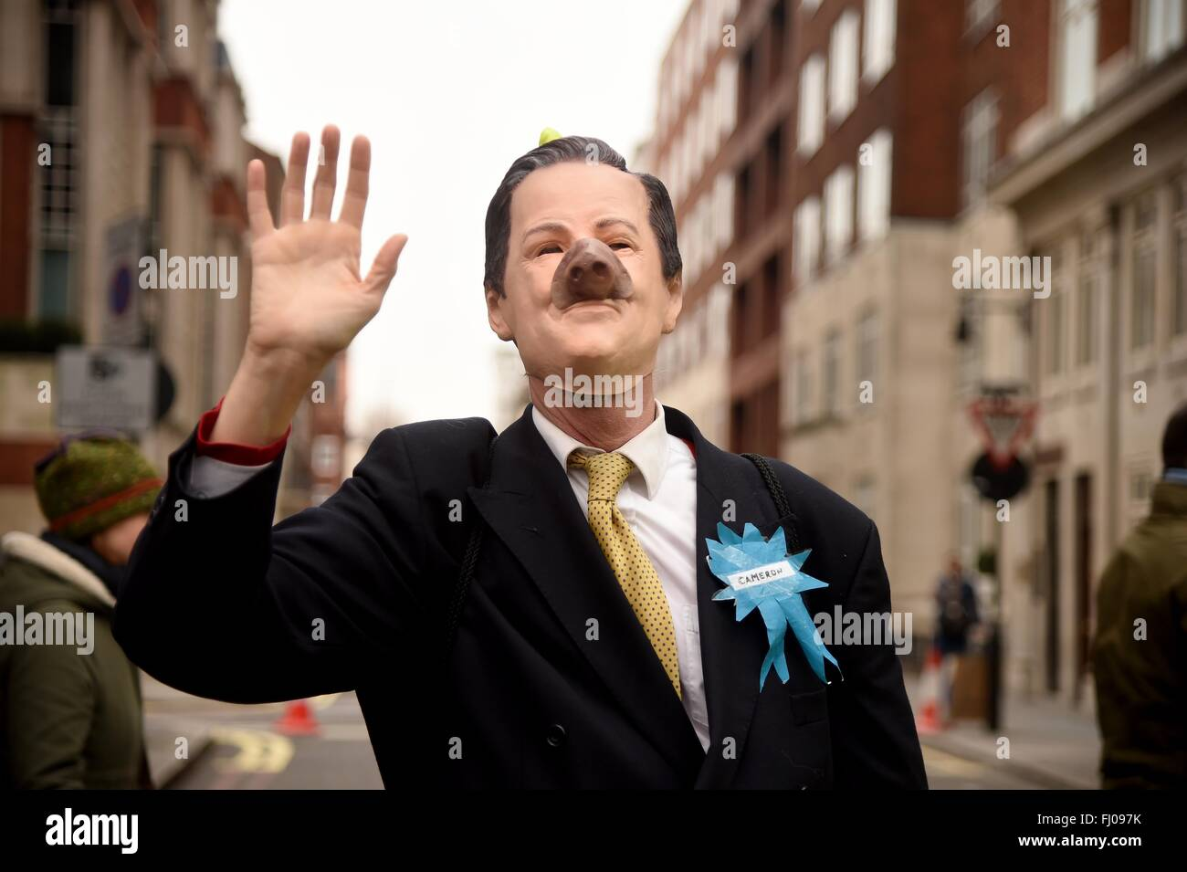 CND Anti Trident Protest, London, UK, protester dressed as David Cameron as a pig - Stock Image