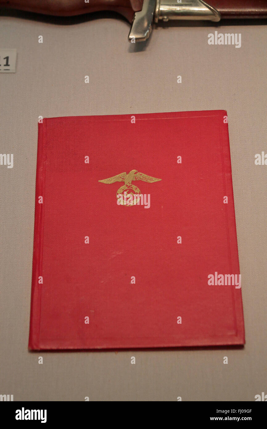 The Nazi Party membership book on display in the Imperial War Museum North, Salford Quays, Manchester, UK. - Stock Image