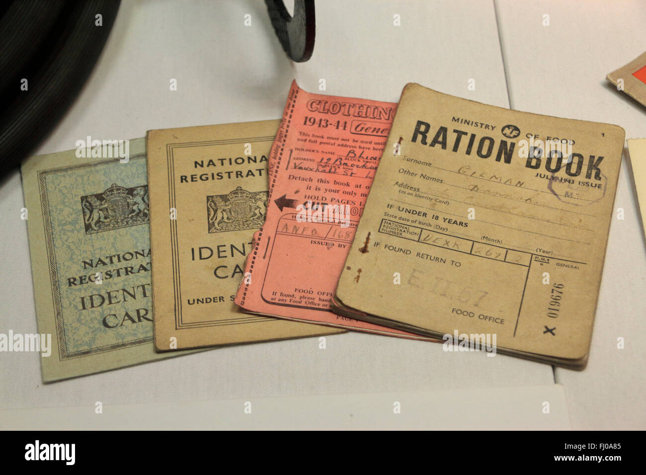 WWII ID cards, ration books and clothing books on display in the Imperial War Museum North, Salford Quays, Manchester, - Stock Image