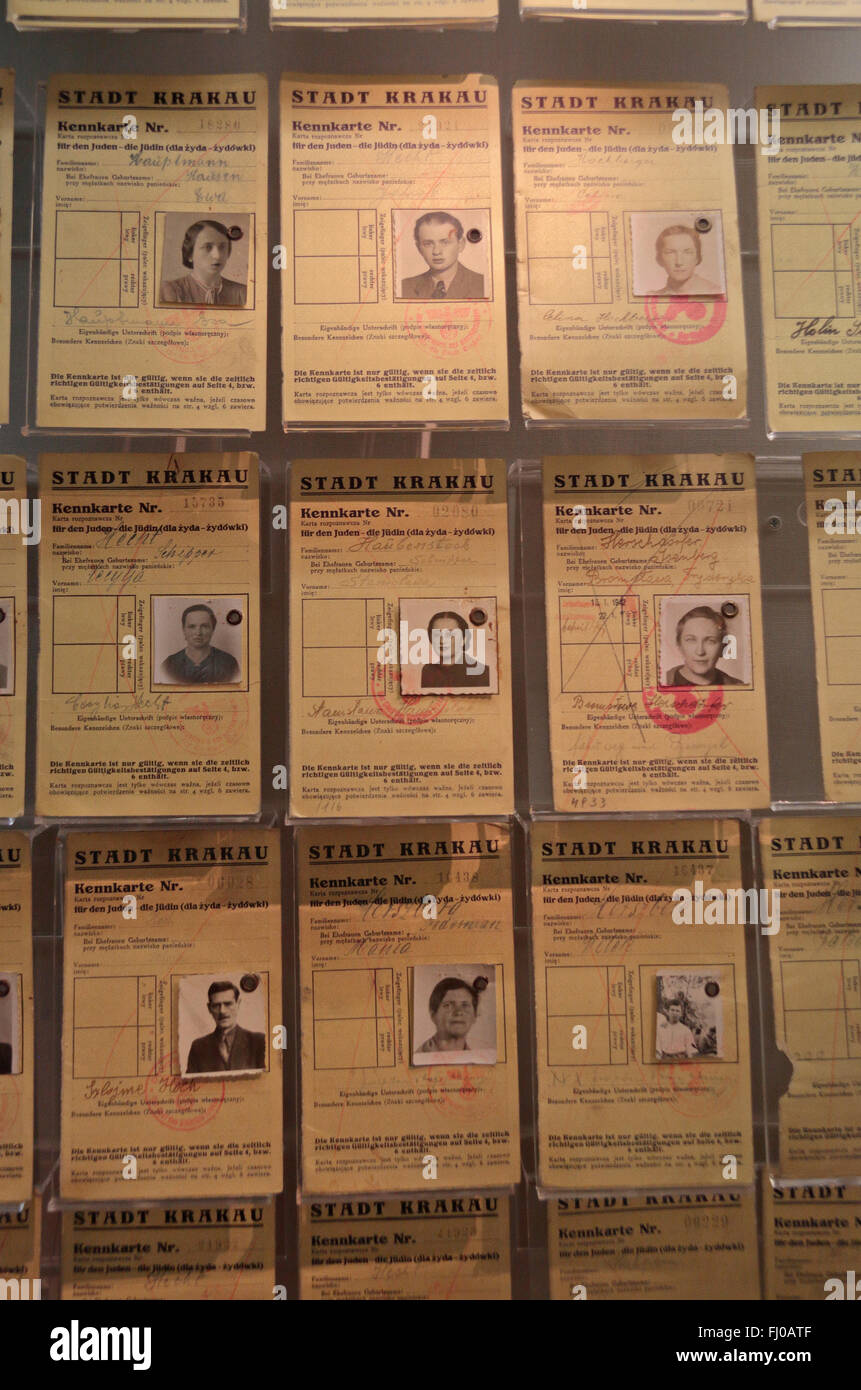 Display showing Jewish identity cards from the Krakow ghetto Poland, Imperial War Museum North, Salford Quays, Manchester, - Stock Image