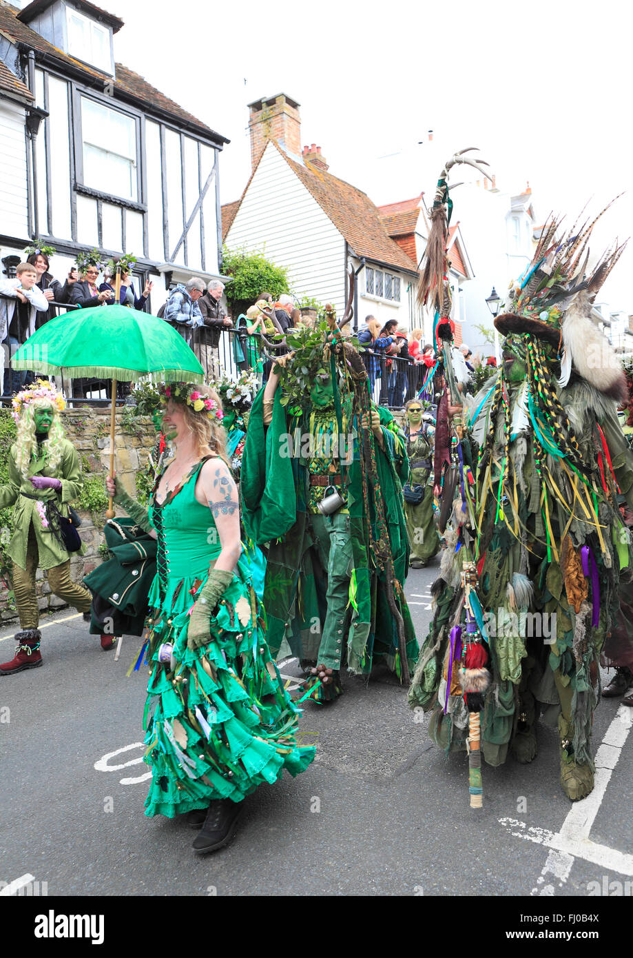 Hastings Jack-in-the Green, annual May Day Bank Holiday procession, East Sussex, England, UK - Stock Image