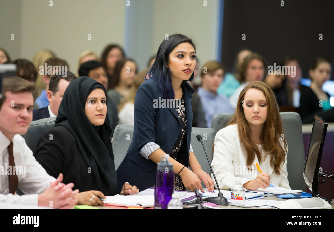 Teens posing as prosecuting attorneys in mock trial for high school students participate in proceedings in TX county - Stock Image