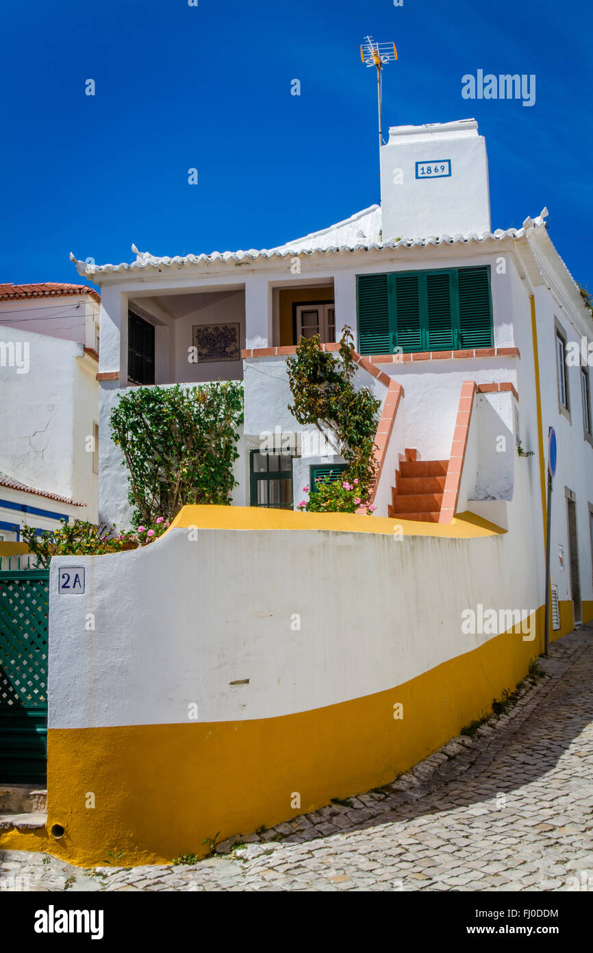 Boat shaped house in Ericeira, Portugal Stock Photo