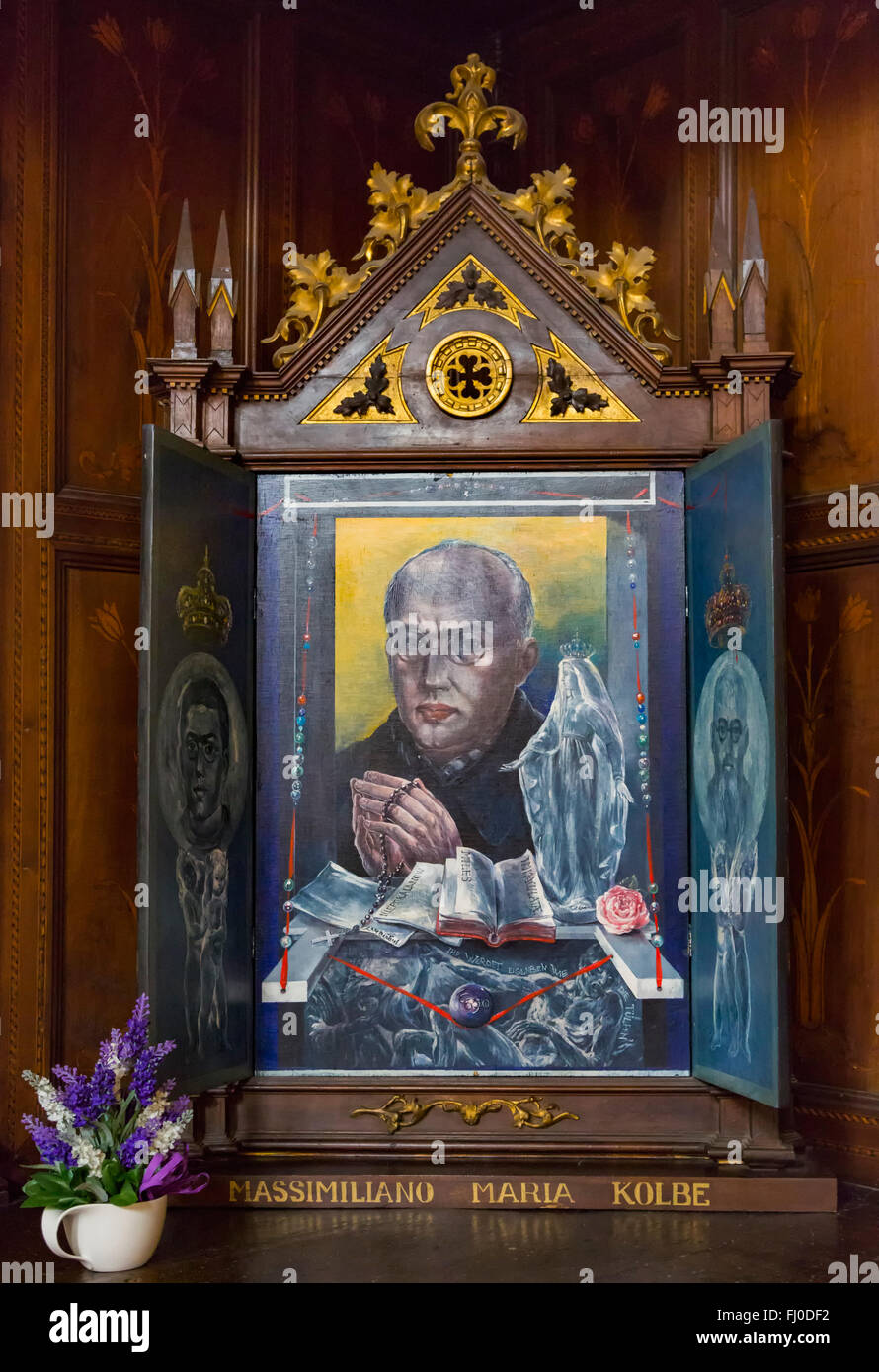 Triptych of Maximilian Maria Kolbe, 1894-1941, Polish priest who volunteered to be starved to death in place of - Stock Image
