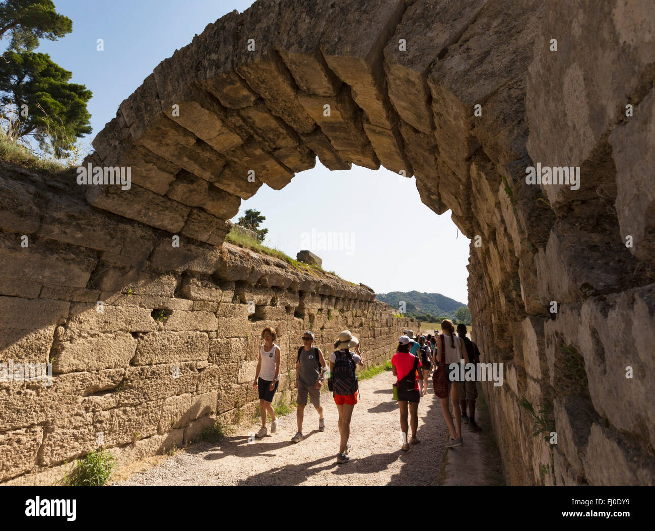 Olympia, Peloponnese, Greece.  Ancient Olympia.  Entrance leading to stadium where athletic events were held. Stock Photo