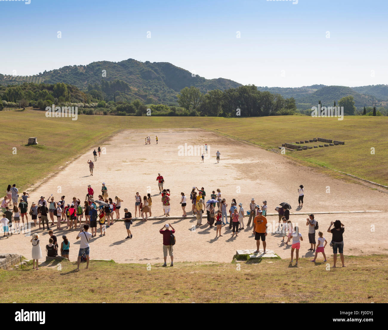 Olympia, Peloponnese, Greece.  Ancient Olympia. The stadium where athletic events were held.  A - Stock Image