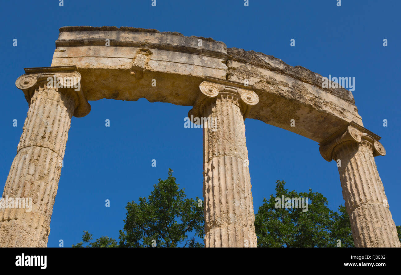 Olympia, Peloponnese, Greece.  Ancient Olympia. The Philippeion, 4th century BC. - Stock Image