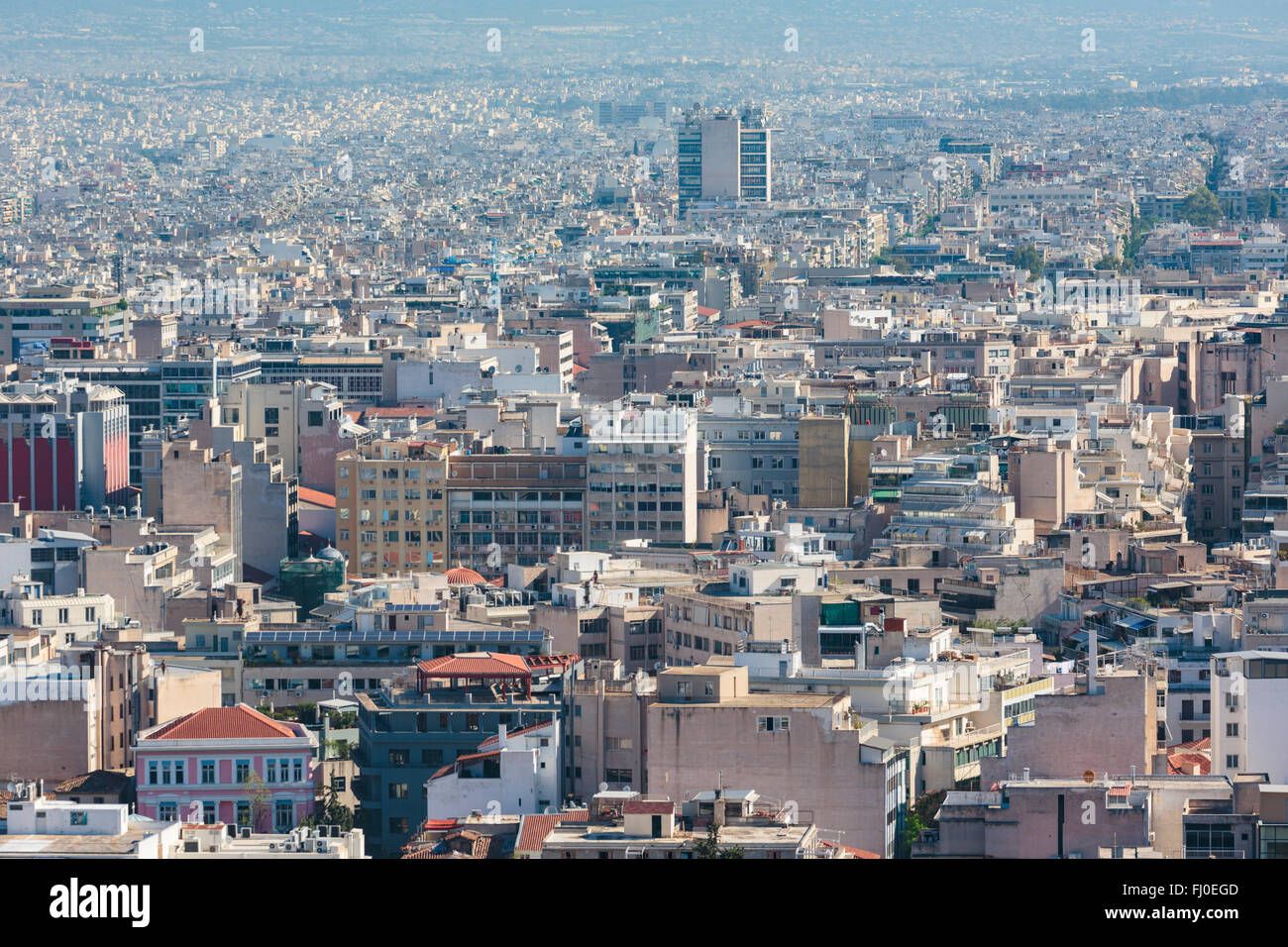 Athens, Attica, Greece.  View over Athens from the Acropolis. - Stock Image