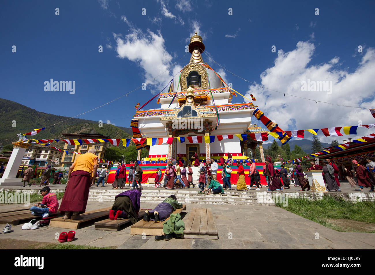 Prayers at memorial Chorten in Thimpu - Stock Image