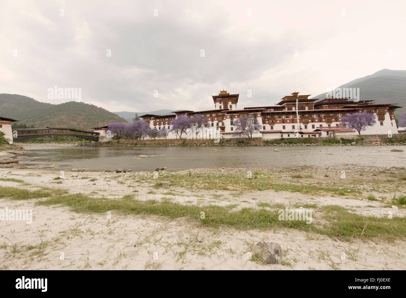 Punakha Dzong, the 2nd Dzong to be built in Bhutan and it served as the capital and seat of government until mid - Stock Image