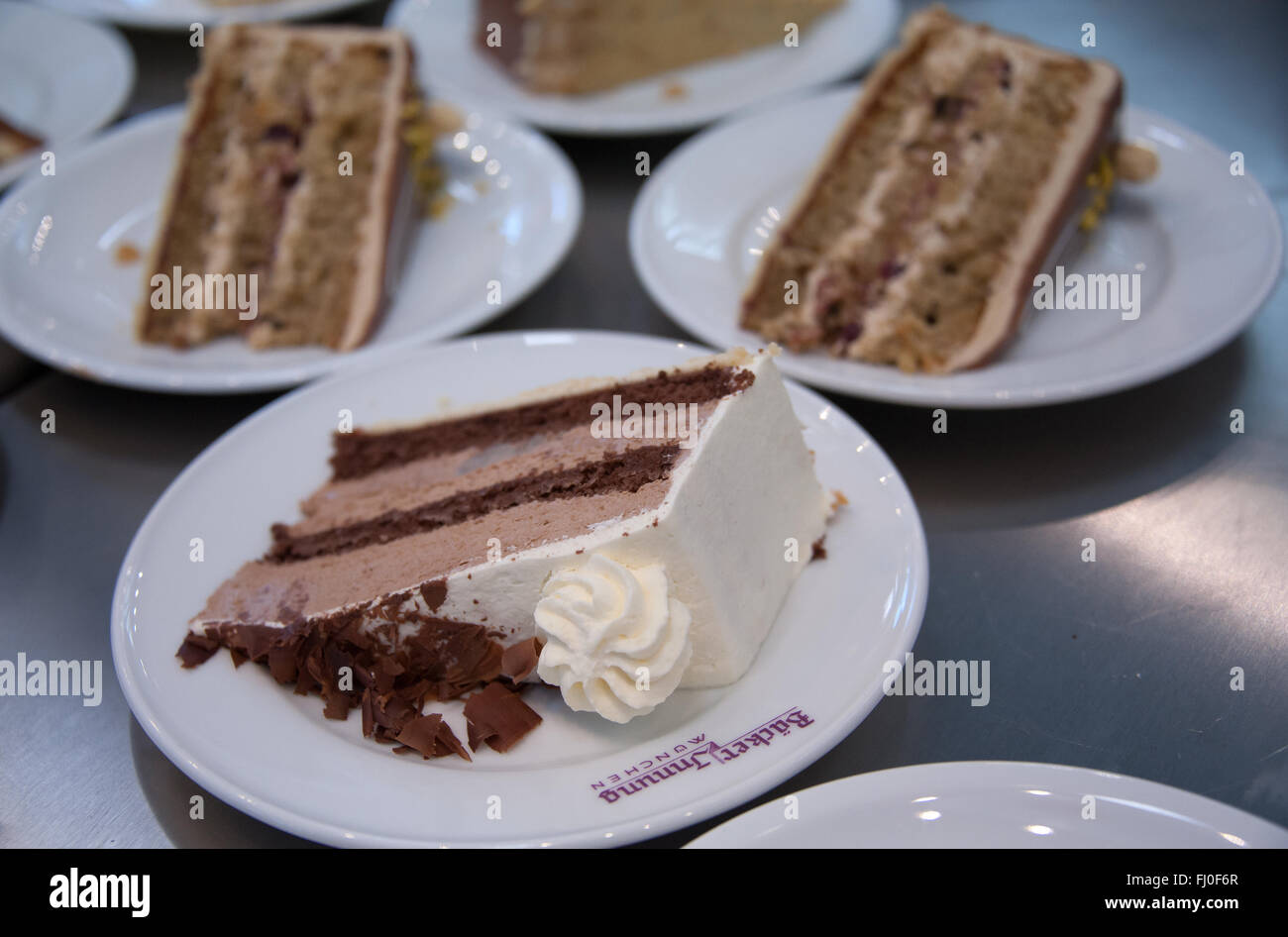 Munich, Germany. 26th Feb, 2016. Various pieces of cake pictured at a booth at the Internationale Handwerksmesse Stock Photo