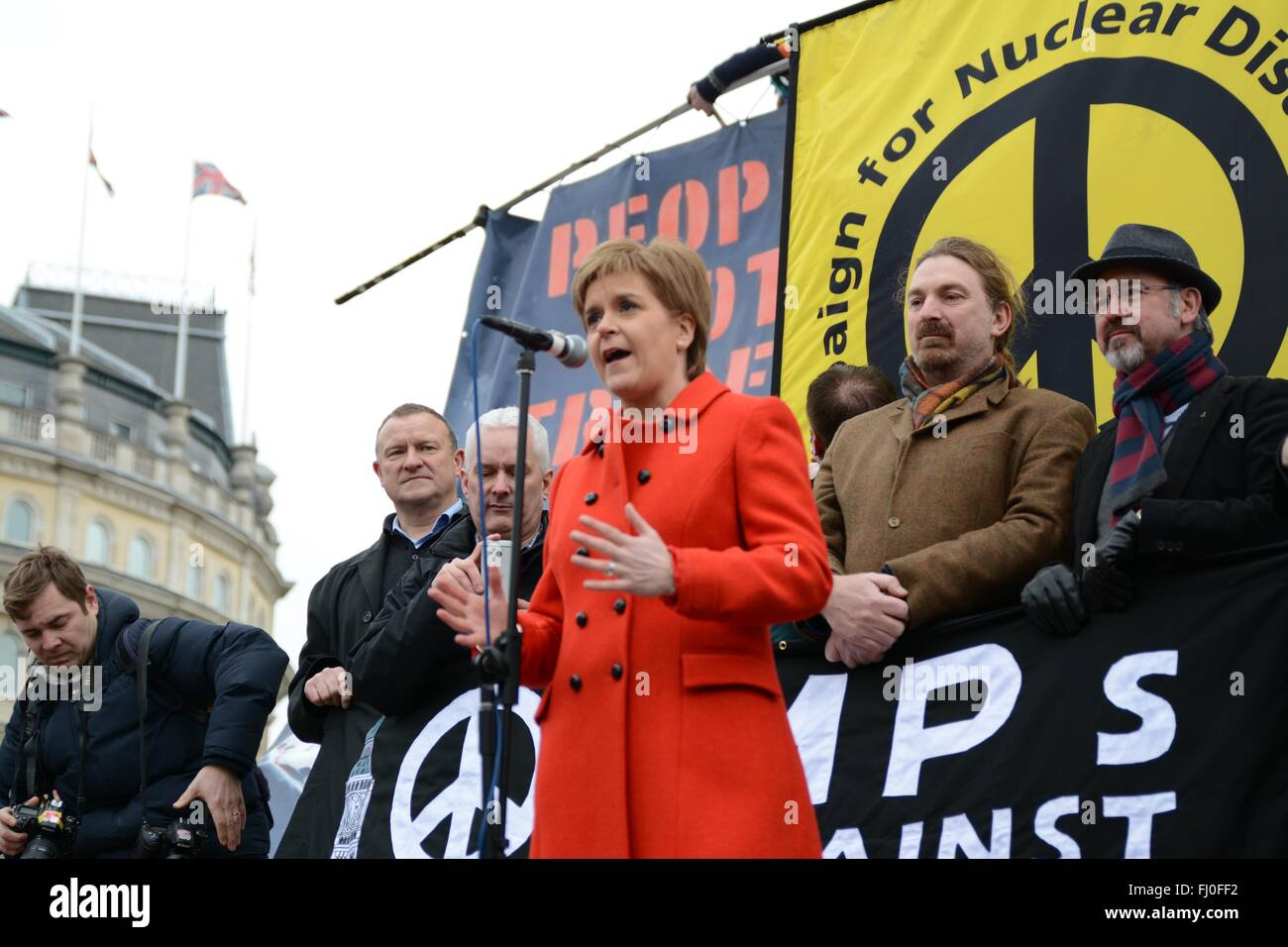 London, UK. 27th February 2016. Nicola Sturgeon addresses crowds who rallied against Trident nuclear missiles in - Stock Image