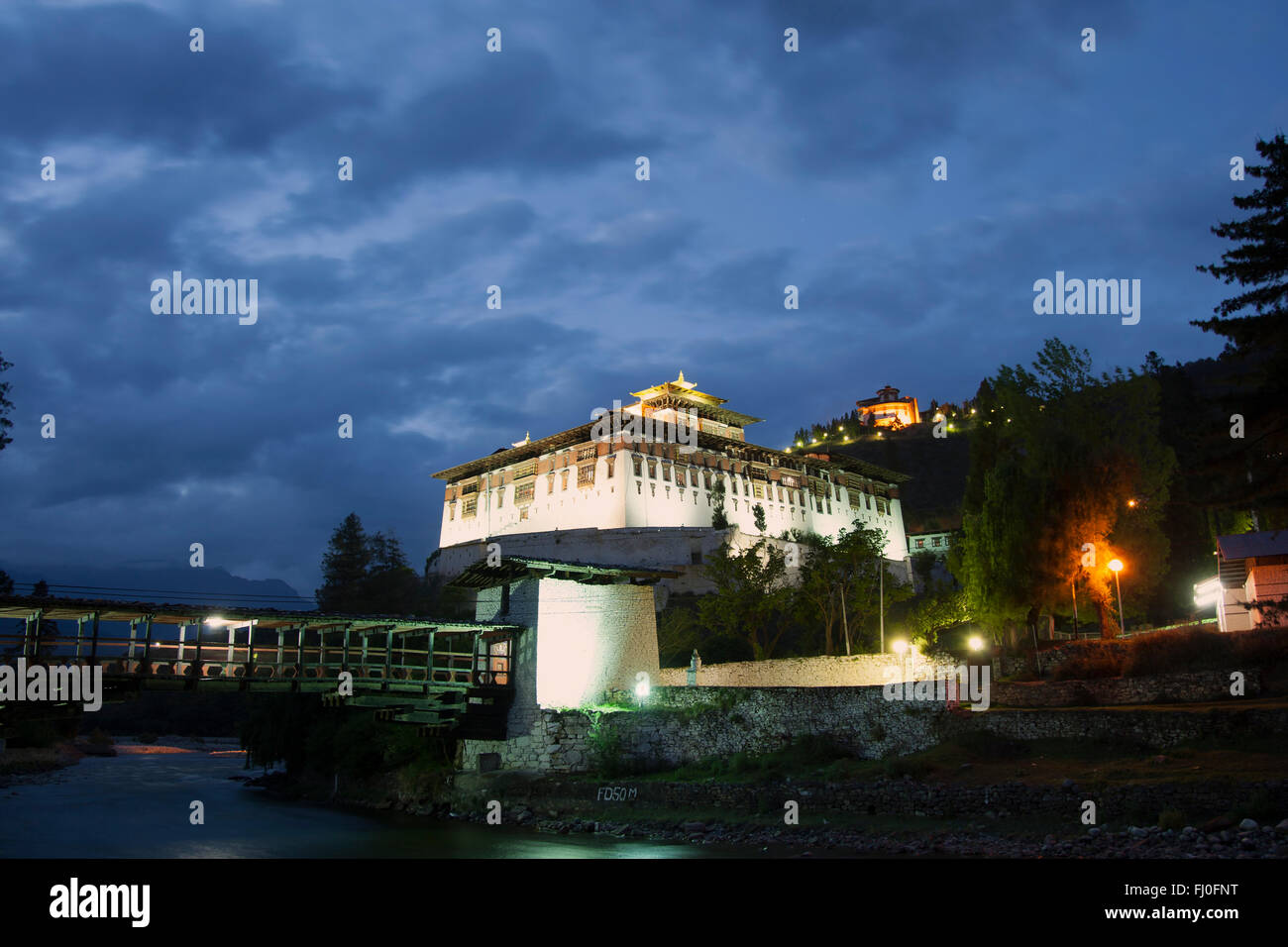 Rinpung Dzong during the blue hour - Stock Image