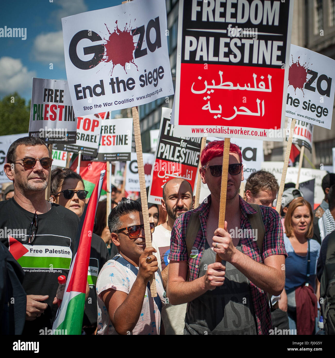 Rally for Gaza, London, Aug 9, 2014 - Stock Image