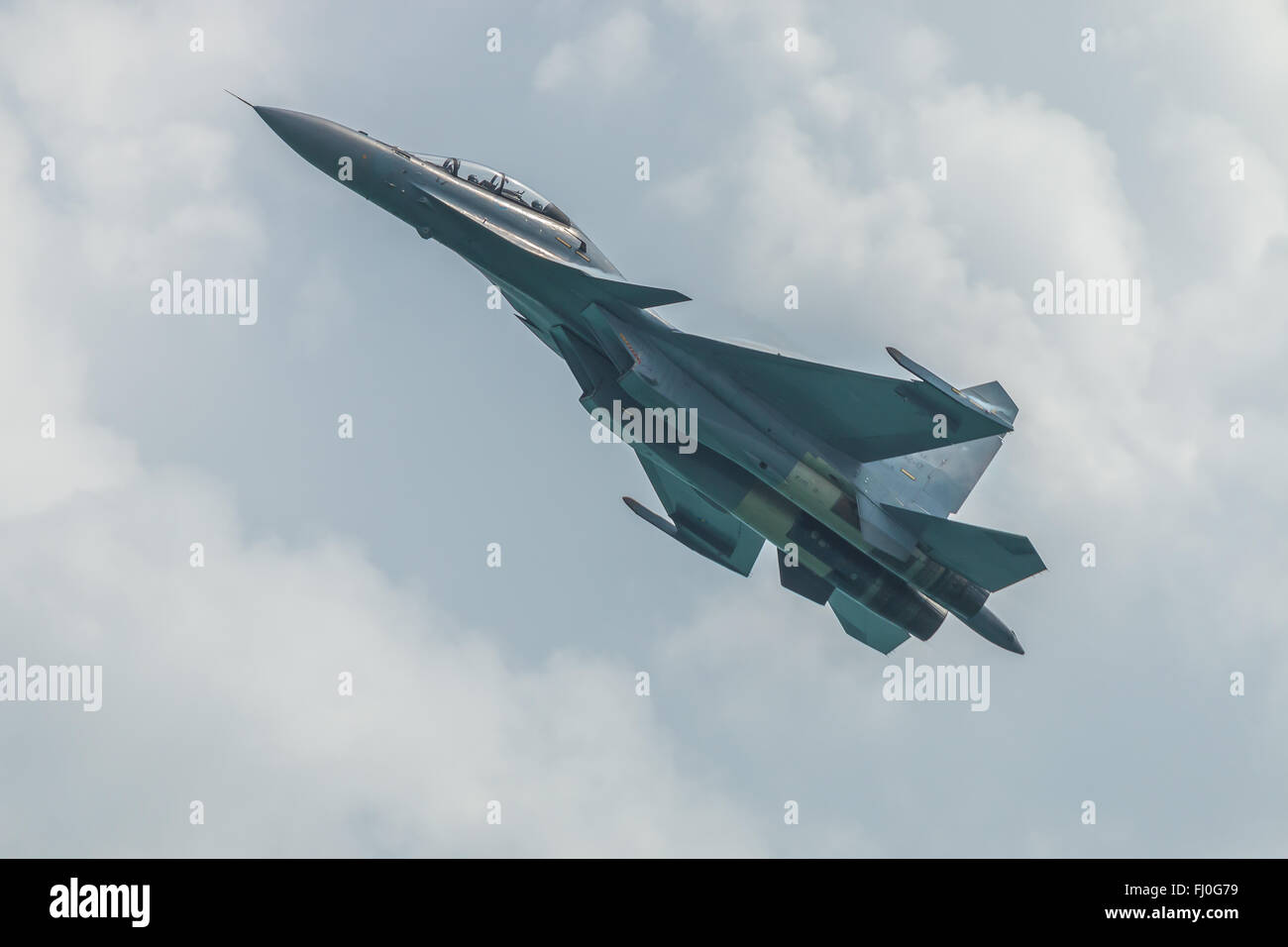 Royal Malaysian Airforce Su-30 at the Singapore Airshow 2016 - Stock Image
