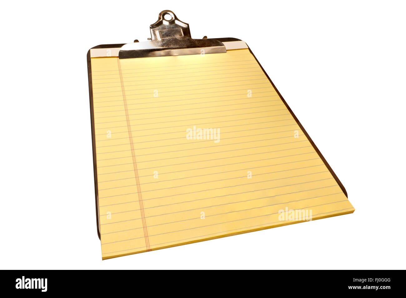 Blank Yellow Legal Pad on Old Metal Clipboard - Stock Image