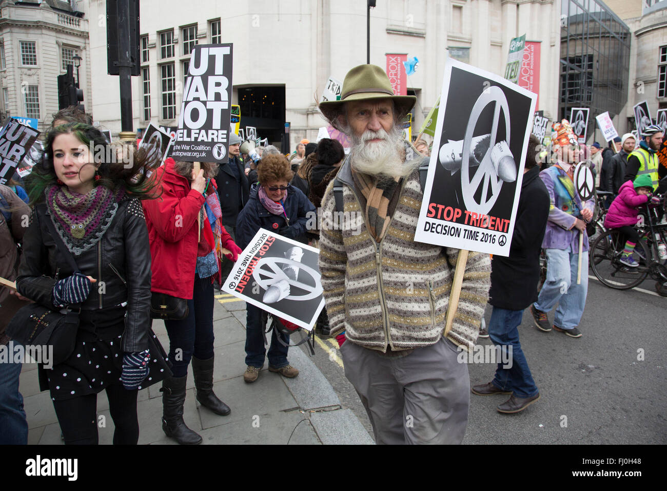 London, UK. Saturday, February 27th 2016. Stop Trident: CND demonstration against Britain's Trident nuclear - Stock Image