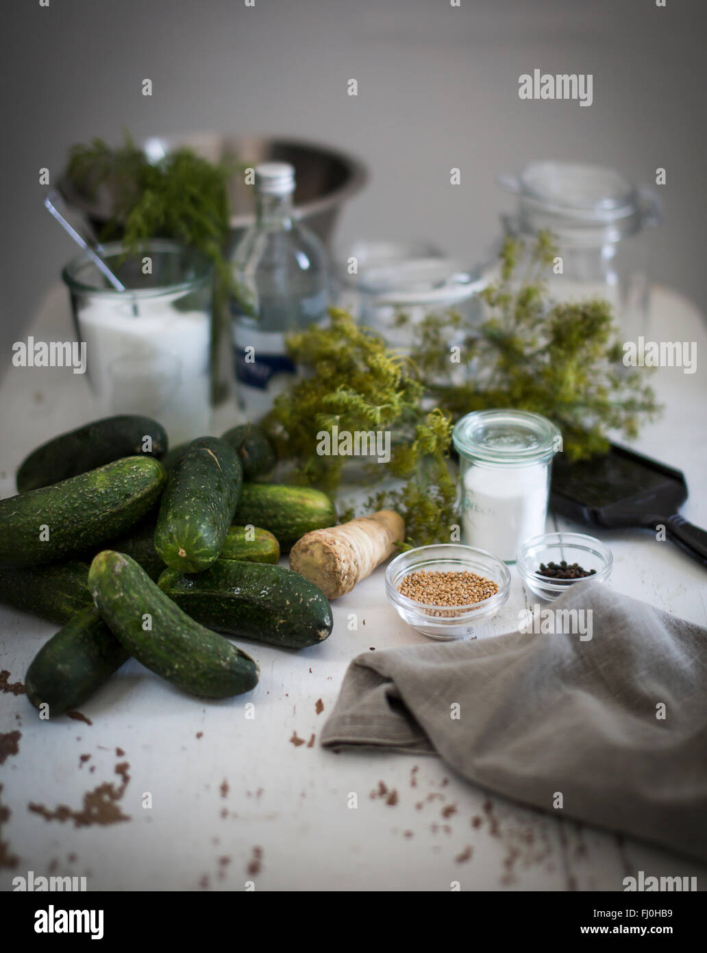 Ingredients for pickled cucumbers on a table - Stock Image