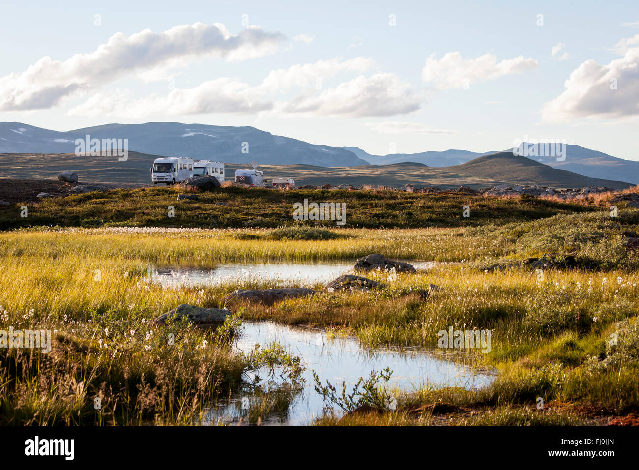 Picture of motor homes parked in the wilderness of Swedish Lapland. - Stock Image